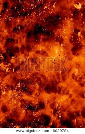 Nahaufnahme über eine explosive Eruption mit Lava-Projektion