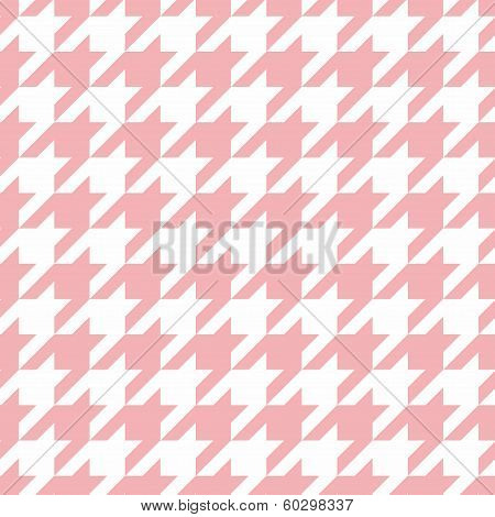 Houndstooth seamless vector pastel pink and white pattern or background