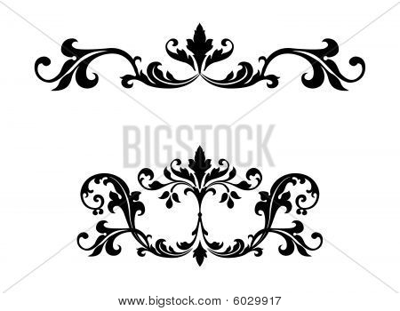 Ornamentos de diseño floral Scroll