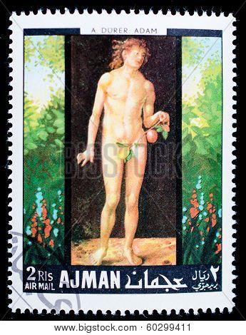 AJMAN - CIRCA 1976: stamp printed by Ajman, shows Adam by Durer, circa 1976