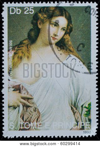 SAO TOME AND PRINCIPE - CIRCA 1990: A stamp printed in Sao tome shows Titian painting, circa 1990.