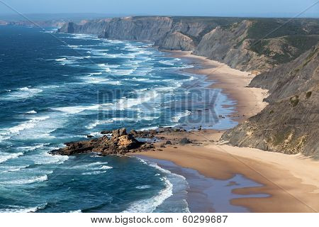 Beautiful rocky Shore at Algarve coast in Portugal