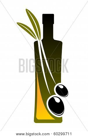 Olive oil icon with a bottle and fresh olives