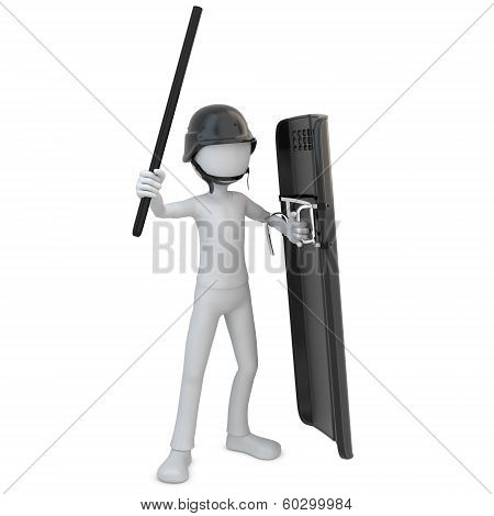 3D Man Riot Police With Shield