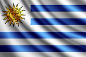 Waving flag of Uruguay