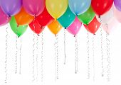 picture of helium  - colourful helium balloons isolated on white background - JPG