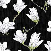 stock photo of magnolia  - Vintage vector pattern with white magnolia flowers on black background - JPG