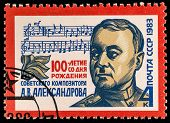 USSR - CIRCA 1983: A stamp printed in USSR shows A.W. Aleksandrov (1883-1946), National Anthem Compo