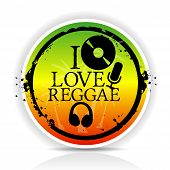 picture of reggae  - Sticker i love reggae in colour with disk and mike - JPG