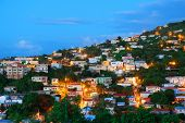 foto of virgin  - Virgin Islands St Thomas mountain view in early morning with buildings - JPG
