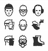 pic of protective eyewear  - Simple set of job safety related vector icons for your design - JPG