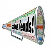 foto of clientele  - Sales Leads Bullhorn Megaphone New Customers Advertising - JPG