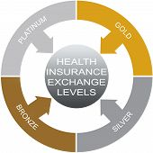stock photo of bronze silver gold platinum  - Health Insurance Exchange Levels Word Circle Concept with great terms such as platimum gold and more - JPG