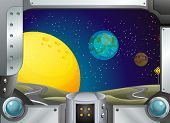 stock photo of outerspace  - Illustration of a metal frame with a view of the outerspace - JPG