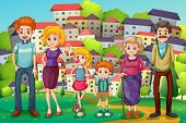 foto of hilltop  - Illustration of a hilltop with a big family - JPG