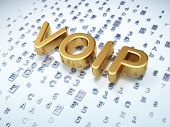 SEO web development concept: Golden VOIP on digital background