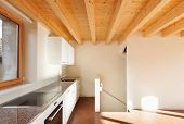 image of chalet interior  - comfortable empty loft - JPG