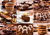 picture of chocolate muffin  - collage of various chocolate products on wooden table - JPG