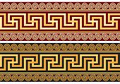 stock photo of fret  - set frieze with vintage golden and blue Greek ornament  - JPG