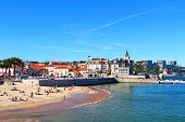 picture of beachfront  - Popular Cascais beach near Lisbon in Portugal - JPG