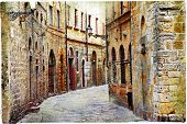 stock photo of street-art  - streets of medieval towns of Tuscany - JPG