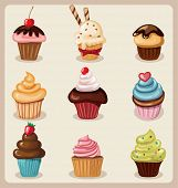 picture of chocolate muffin  - Cupcake set - JPG