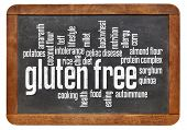 stock photo of buckwheat  - gluten free food word cloud on a vintage slate blackboard isolated on white - JPG