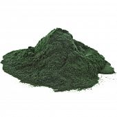 pic of green algae  - Spirulina powder  algae nutritional supplement heap surface close up top view - JPG