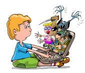 stock photo of porno  - The child with the computer on the Internet sees aggression - JPG