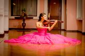 picture of viola  - Beautiful woman with violin playing with big dress - JPG