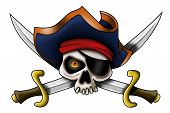 stock photo of pirate hat  - A pirate skull with pirate hat and saber - JPG