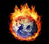 picture of hemisphere  - Burning globe earth  - JPG