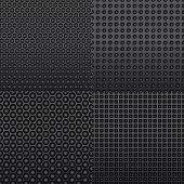 image of stippling  - Four different repeat seamless carbon patterns in dark grey resembling an indented surface of shaded stippled shapes in square format - JPG