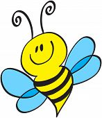image of bee cartoon  - Cute little bee with antennae - JPG