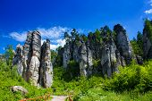 stock photo of bohemia  - Prachovske skaly is a famous monument of Bohemia Paradise - JPG