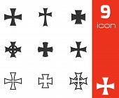 picture of maltese-cross  - Vector black choppers crosses icons  white background - JPG
