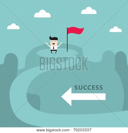 Businessman On Top Of The Mountain Success Goal Achievement Business Concept