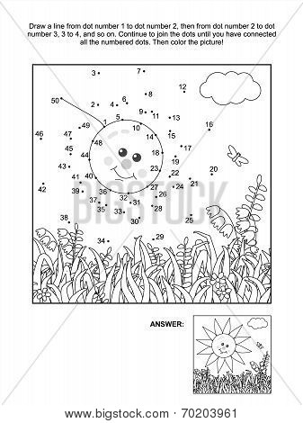 Dot-to-dot and coloring page - sun