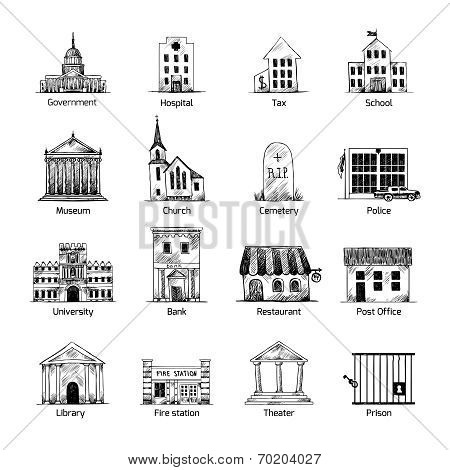 Government building icons set