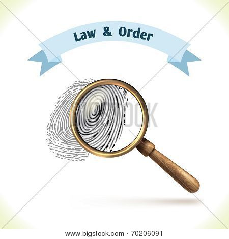 Law icon fingerprint under magnifier