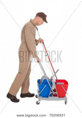 Servant With Washing Bucket And Mop