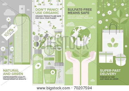 Beauty Of Natural Cosmetics Flat Banner Set