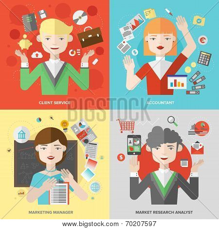 Business And Marketing Professions Flat Illustration