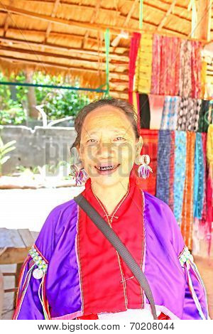 Unidentified Padaung (karen) Tribe Woman  In Traditional Costume