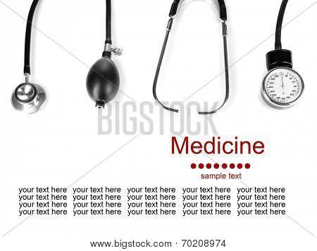 Tonometer and stethoscope isolated on white