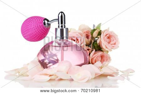 Perfume bottle with petals isolated on white
