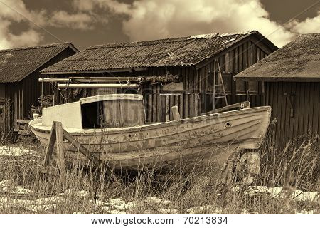 Old Fishing Boat On Shore