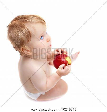 Cute Infant Boy With Apple