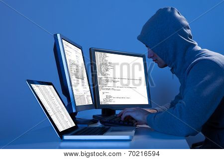 Hacker Using Multiple Computers To Steal Data