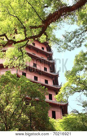 The Six Harmonies Pagoda, Hangzhou, China. Summer day